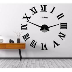 Nástenné hodiny nalepovacie MAXI  PLEXI - rímske čísla 2D