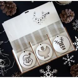 Kolekcia vianočných drevených ozdôb 1 sada 18 kusov  JOZUE