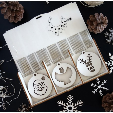 Kolekcia vianočných drevených ozdôb, 1 sada -18 kusov