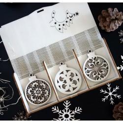 Vianočné ozdoby vyrobené z dreva, sada obsahuje 18 kusov PROFF