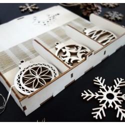 Vianočné ozdoby z dreva, vianočná ozdoba na stromček z dreva sada obsahuje 18 kusov
