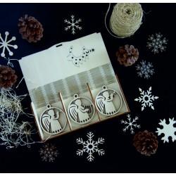 Drevené ozdoby na vianočný stromček, sada obsahuje 18 kusov ANJEL