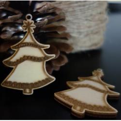 Vianočné ozdoby gravírované Stromček, rozmer: 58x40 mm