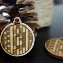 Dekorácia na Vianoce vyrobená z dreva, rozmer: 48x42 mm