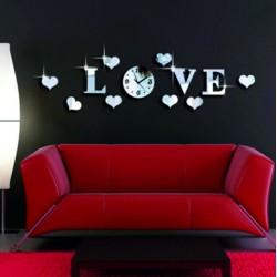Hodiny na stenu nalepovacie LOVE