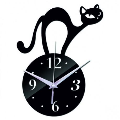 Nástenné hodiny mačka ( zrkadlové hodiny na stenu kocúr) SIMON
