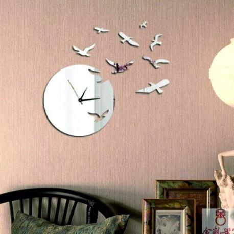 Nalepovacie nástenné hodiny zrkadlové LASTOVIČKY, 40x50 cm