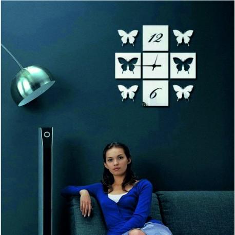Nástenné hodiny zrkadlové Motýlie krídla, 40x40 cm