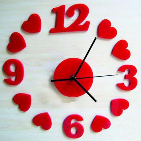 Nástenné hodiny Červené srdcia, 30x30 cm