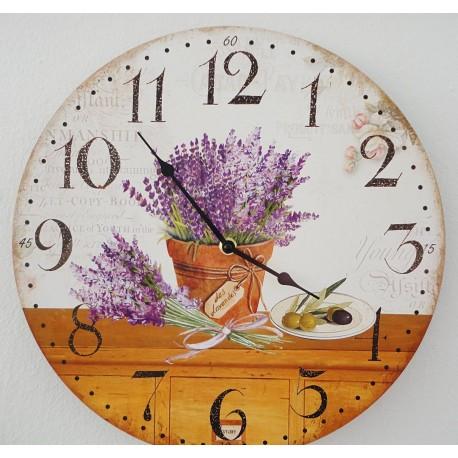 Drevene hodiny levandulovy sen MDF . Fi 30 cm