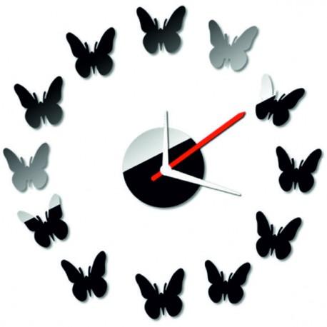 Moderné nástenné zrkadlové hodiny motýl  40x 40 CMELFREGIF