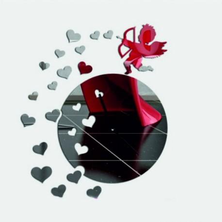 Nástenné hodiny zrkadlové anjel nalepovacie srdce DIY RAFAEL