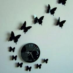 Nástenné hodiny nalepovacie zrkadlo motýľ LUNA