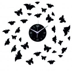 Nástenné zrkadlové hodiny na stenu DIY MOTYLOVO