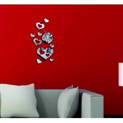 Moderné nalepovacie nástenné zrkadlové hodiny na stenu srdce  45 x 40 cm LÁSKA