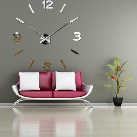 Nástenné hodiny zrkadlové velké DIY 3D PENA PMMA