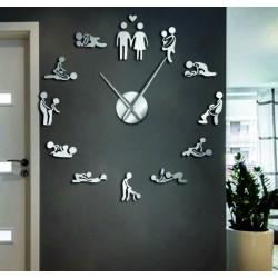 Nástenné hodiny kamasutra zrkadlové DIY 3D HROBESO