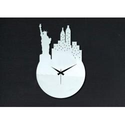 Nástenné hodiny zrkadlo nalepovacie socha slobody DIY PALLET 25 x 36 cm
