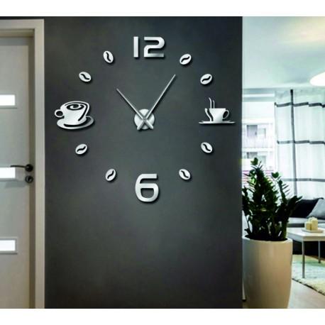 Hodiny na stenu nalepovacie káva DIY RUBINA