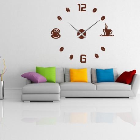 Veľké nástenné hodiny nalepovacie COFFE PLEXI