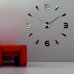 Nástenné hodiny zrkadlové nalepovacie  3D DIY pena  Huawet