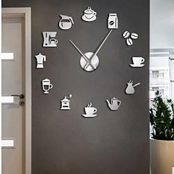 Nástenné hodiny zrkadlo nalepovacie Moderné hodiny káva kaviareň ZRNO