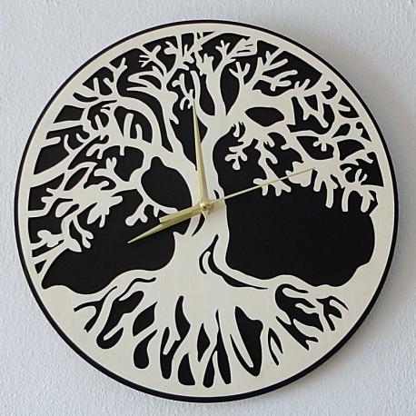 Nástenné hodiny strom života materiál preglejka topoľ a čierna MDF