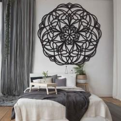 Kvet Vyrezávaná mandala  drevený obraz na stenu z preglejky