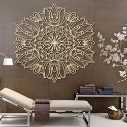 Vyrezávaná mandala drevený obraz na stenu z preglejky rose