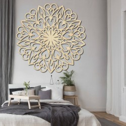 Vyrezávaná mandala kvet drevený obraz na stenu z preglejky