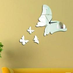 Moderné nalepovacie nástenné zrkadlové hodiny motýlik PERIAD