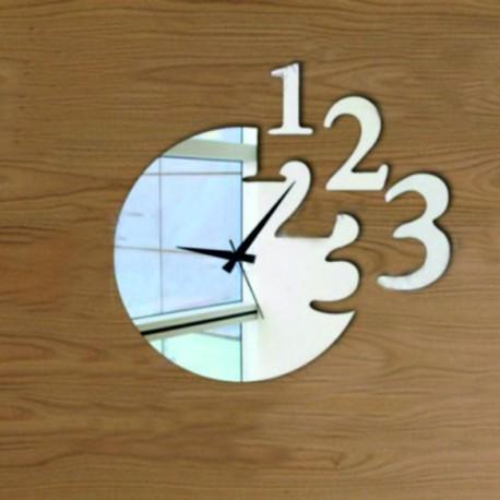 Moderné nalepovacie nástenné zrkadlové hodiny čisielko .