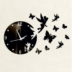 Stylesa Nástenné hodiny pre deti motýľ a víla IA159S JASMINKA čierne