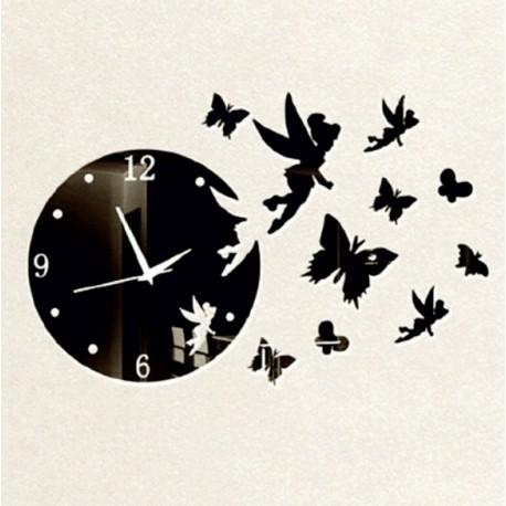Nástenné hodiny motýľ a víla , farba čierna .