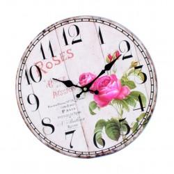 Drevené hodiny obraz ROSE . Fi 34 cm