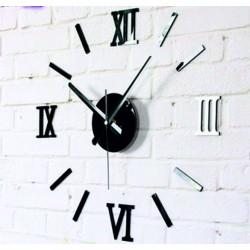 Moderné nalepovacie hodiny na stenu rímske čísla  ČIERNE . Fi 55 cm ROMANK
