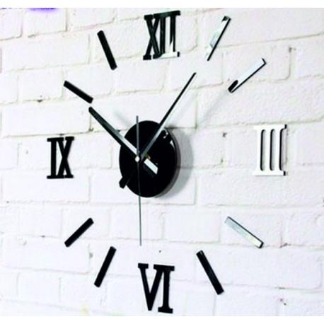 Moderné nalepovacie hodiny na stenu rímske čísla , zrkadlové .