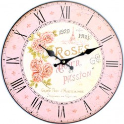 Okrúhle hodiny z dreva ružový paríž MDF . Fi 34cm
