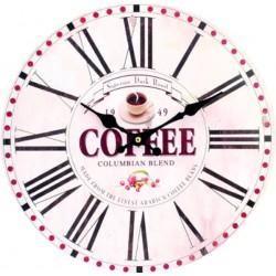 Nástenné hodiny z dreva raná kávička MDF . Fi 34 cm HODINY FAFFE