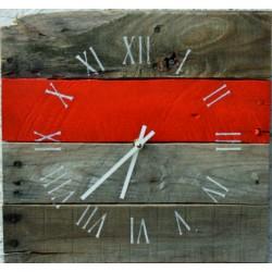 SENTOP Nástenné hodiny rímske s červeným pásikom drevené