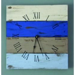 Hodiny z dreva na stenu pestré , modrá LAGÚNA