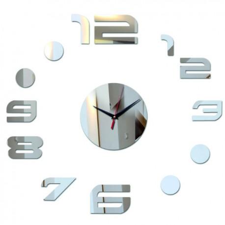 Moderné nalepovacie nástenné zrkadlové hodiny na stenu čierne