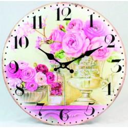 Nástenné hodiny ružové ruže MDF  Fi 30 cm