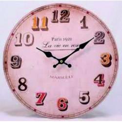 Drevené hodiny Marseille. Materiál: MDF, rozmer: Fi 30 cm HUREK